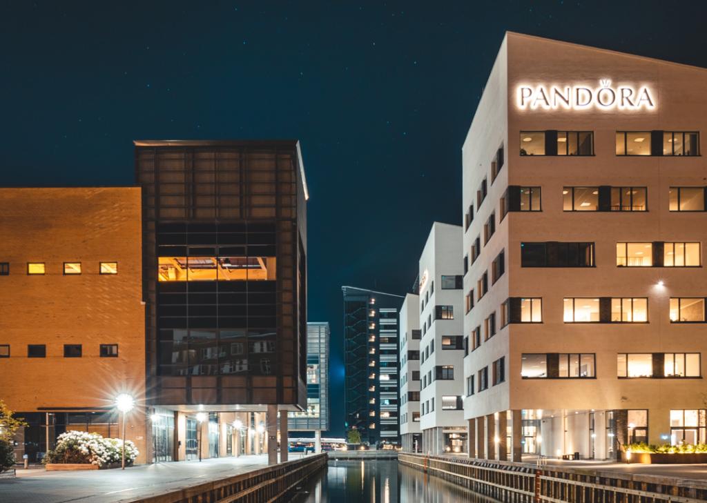 pandora building at night time