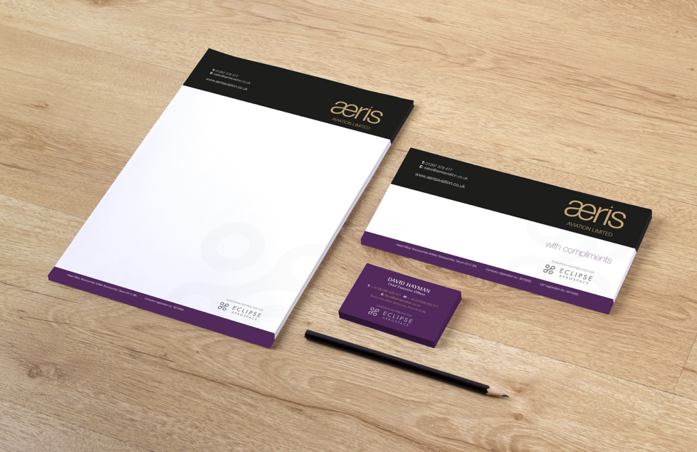 Business stationery on table