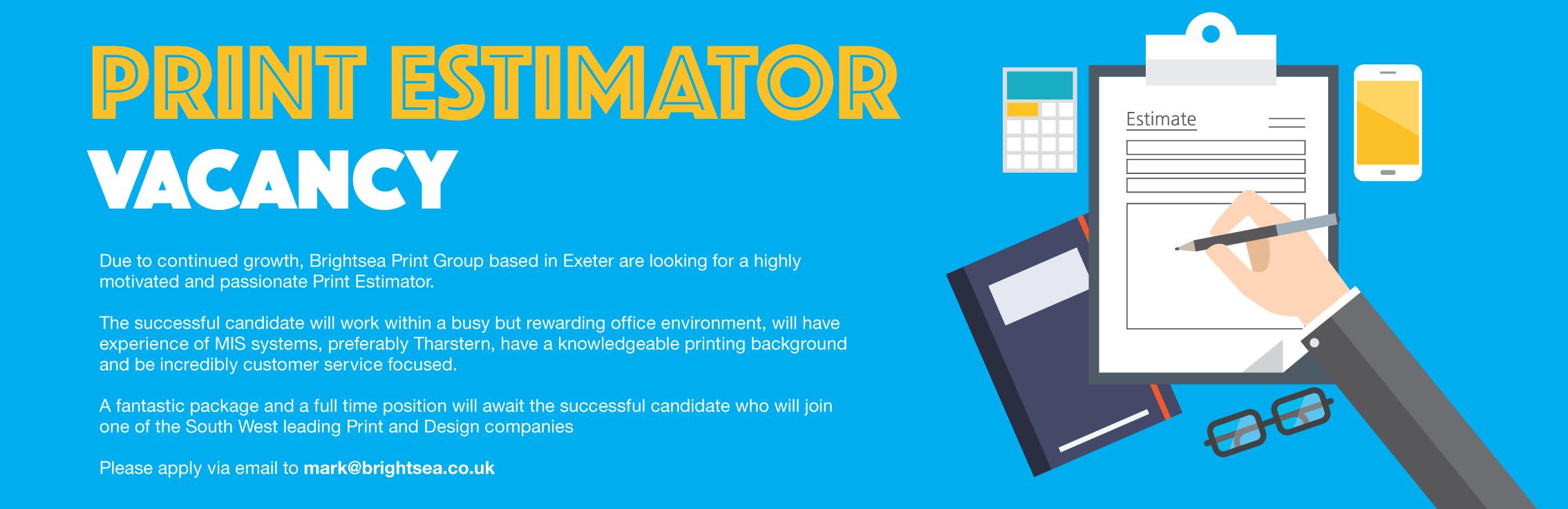 Printing in Exeter – Brightsea Print Group Print Estimator Jobs in ...