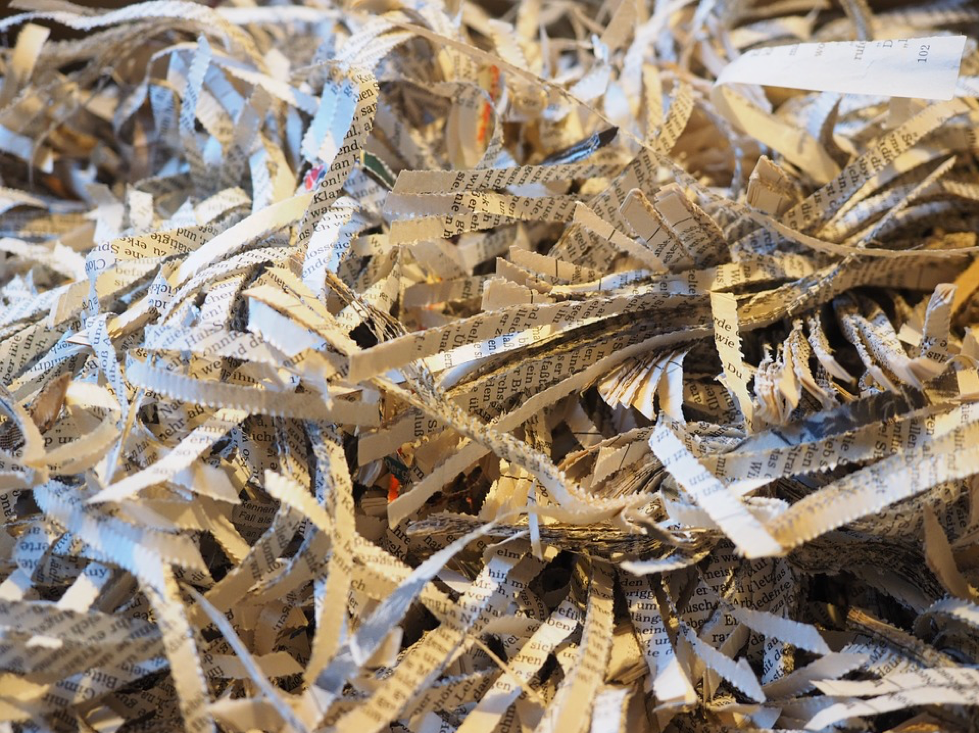 Shredded paper being recycled