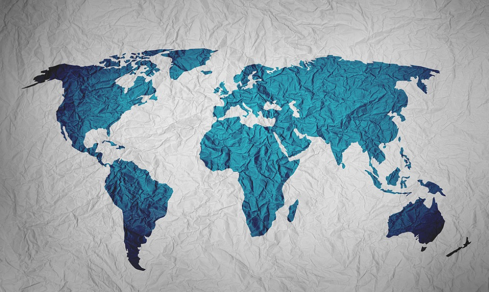 Map of the world printed on paper